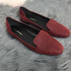 Via Spiga Red Leather Embossed Flat Loafer Sz 7.5